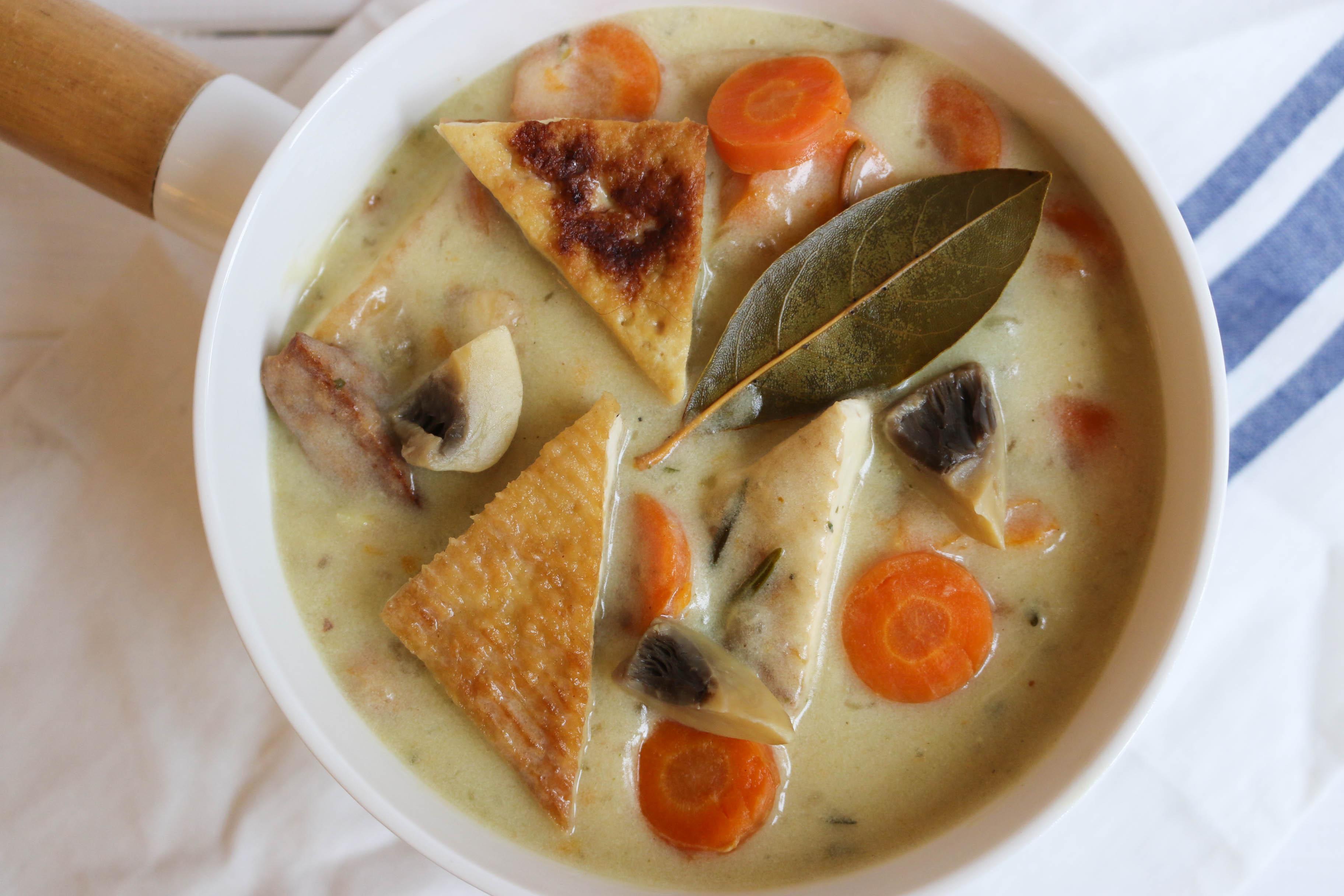 blanquette de tofu, recette végétalienne, végane