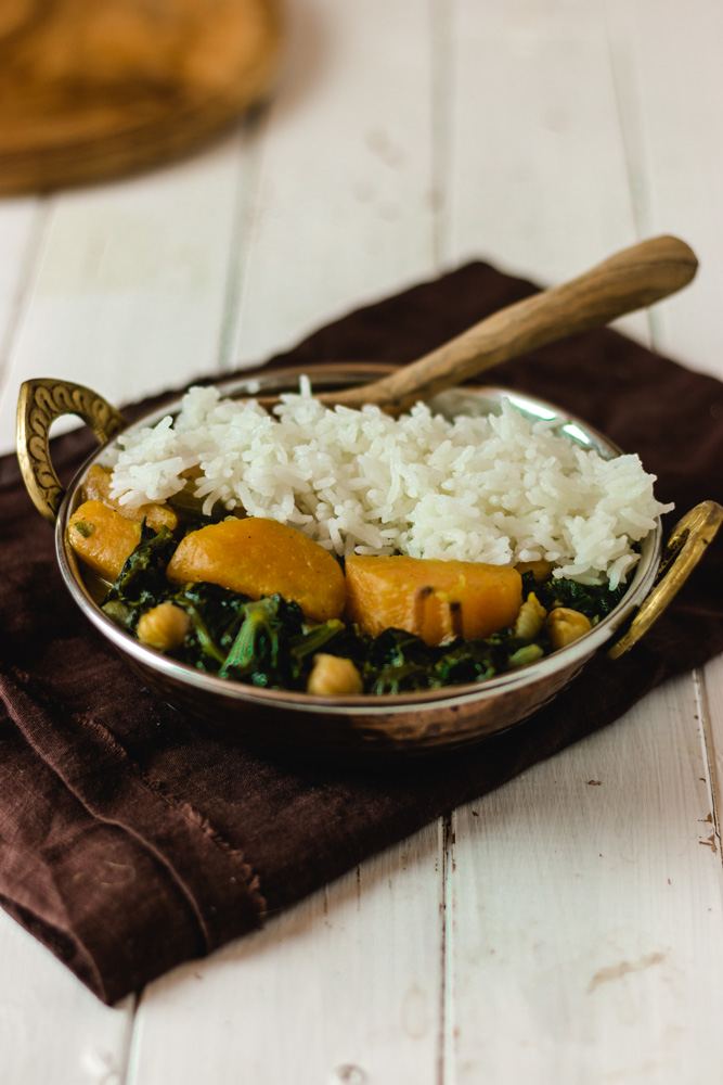curry vegan patate douce épinards