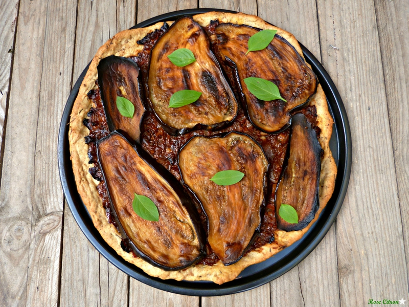 pizza aubergines roties vegan