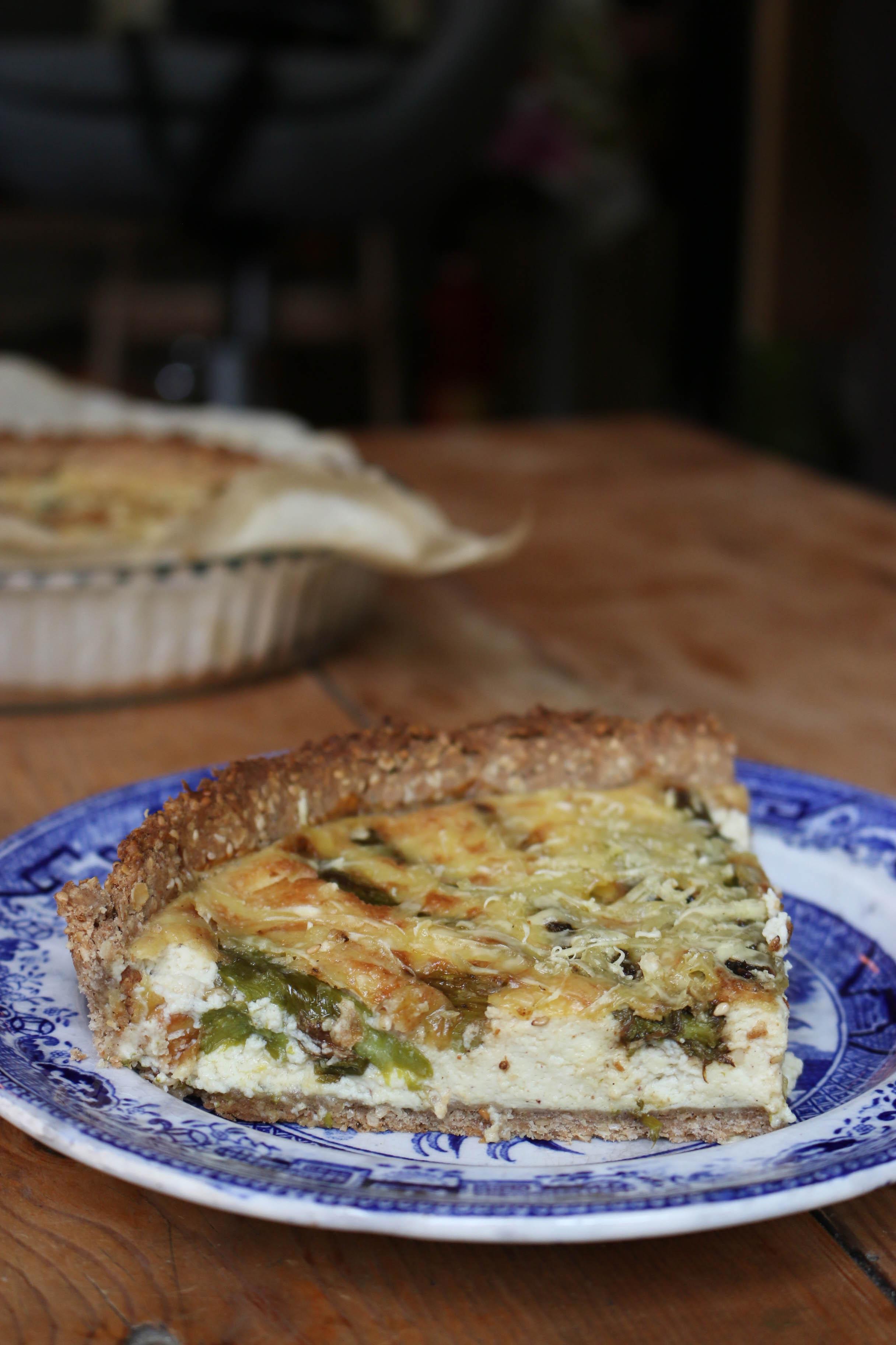 tarte aux asperges vertes vegan