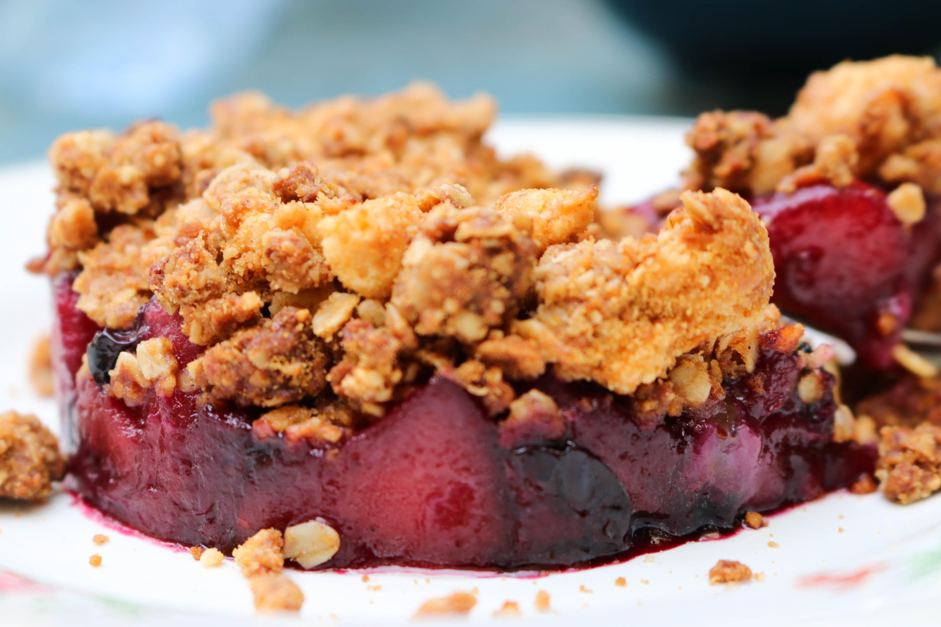crumble pommes myrtilles vegan