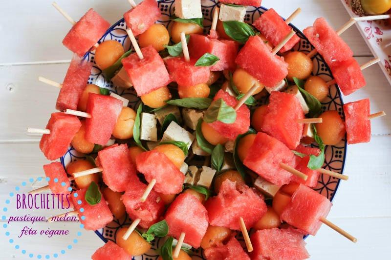 brochettes vegane pasteque melon fêta végétale
