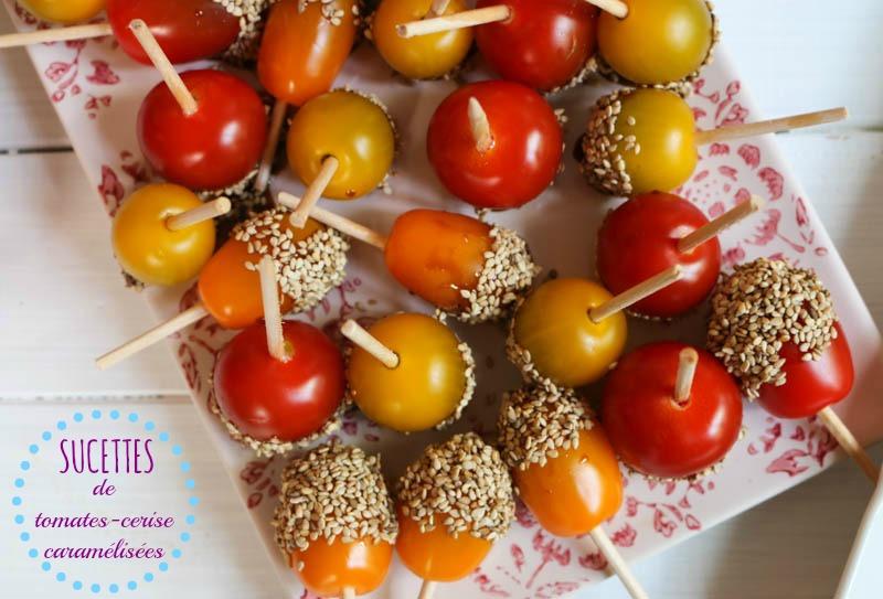 sucette tomates cerise caramel