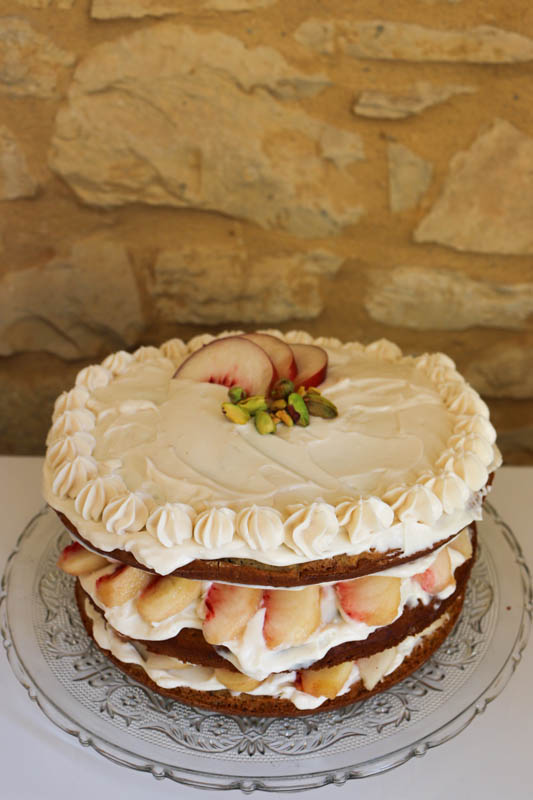 layer cake pêche pistache vegan