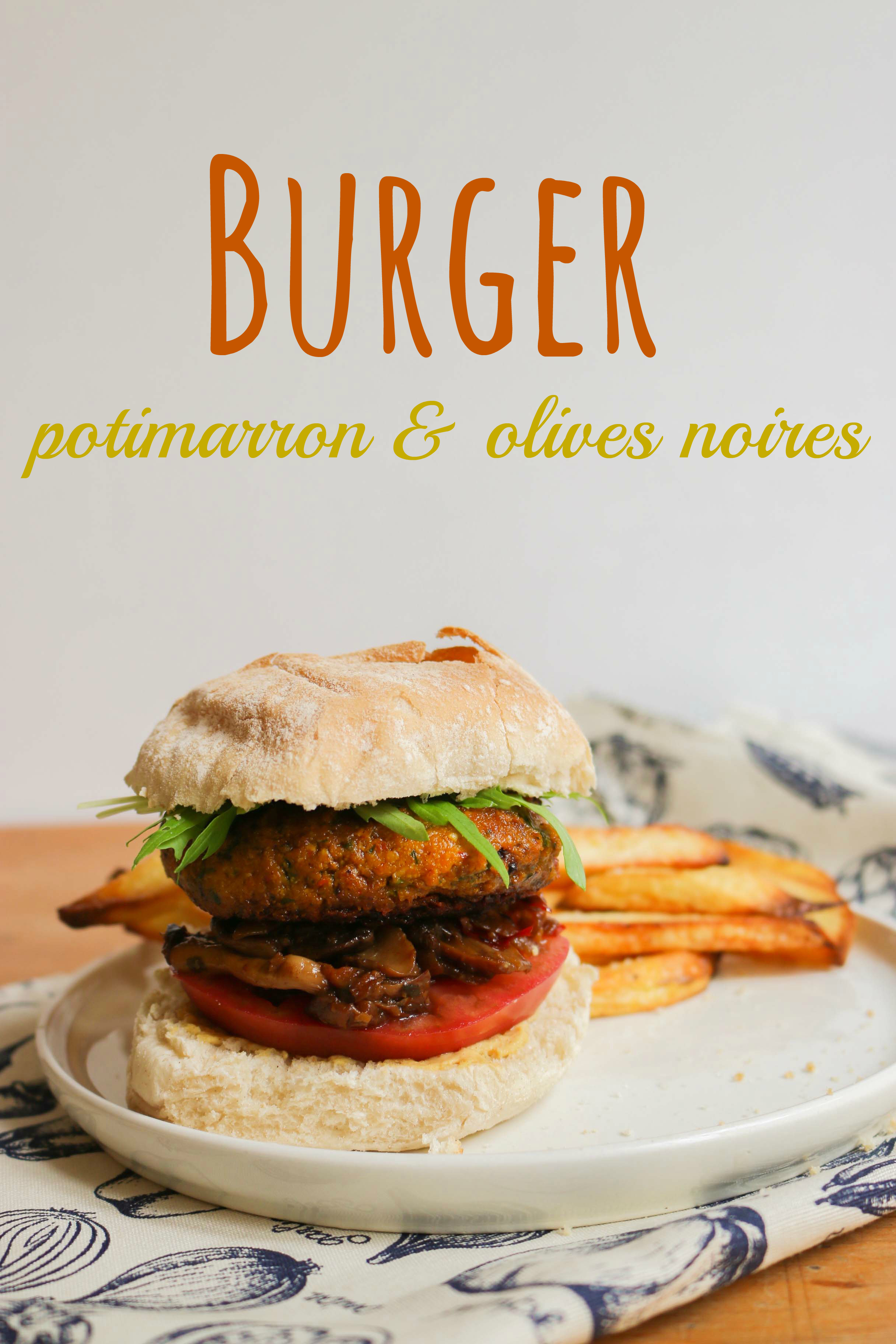 burger vegan potimarron olives