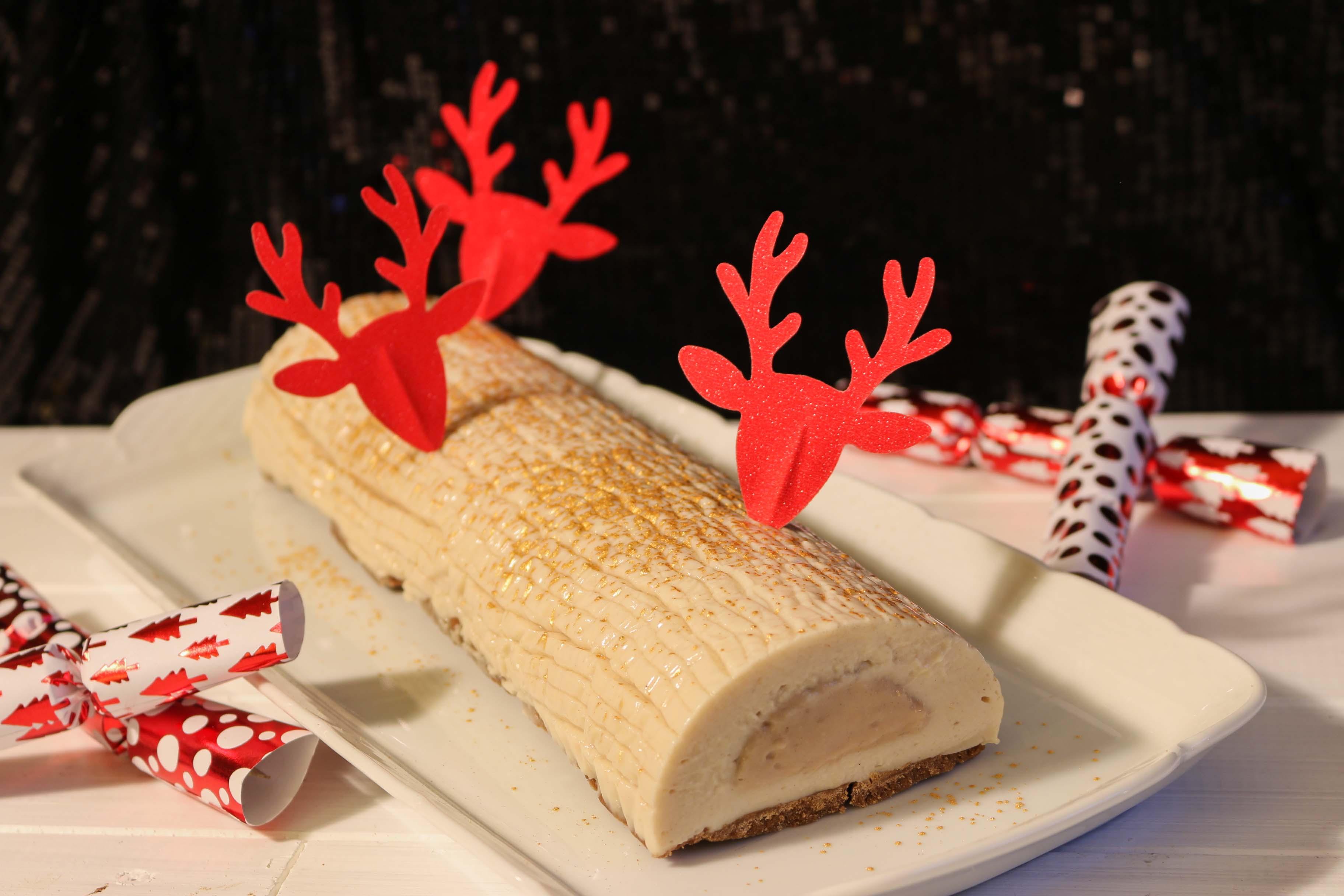 recette bûche de Noël poire et crème de marron (option sans gluten)