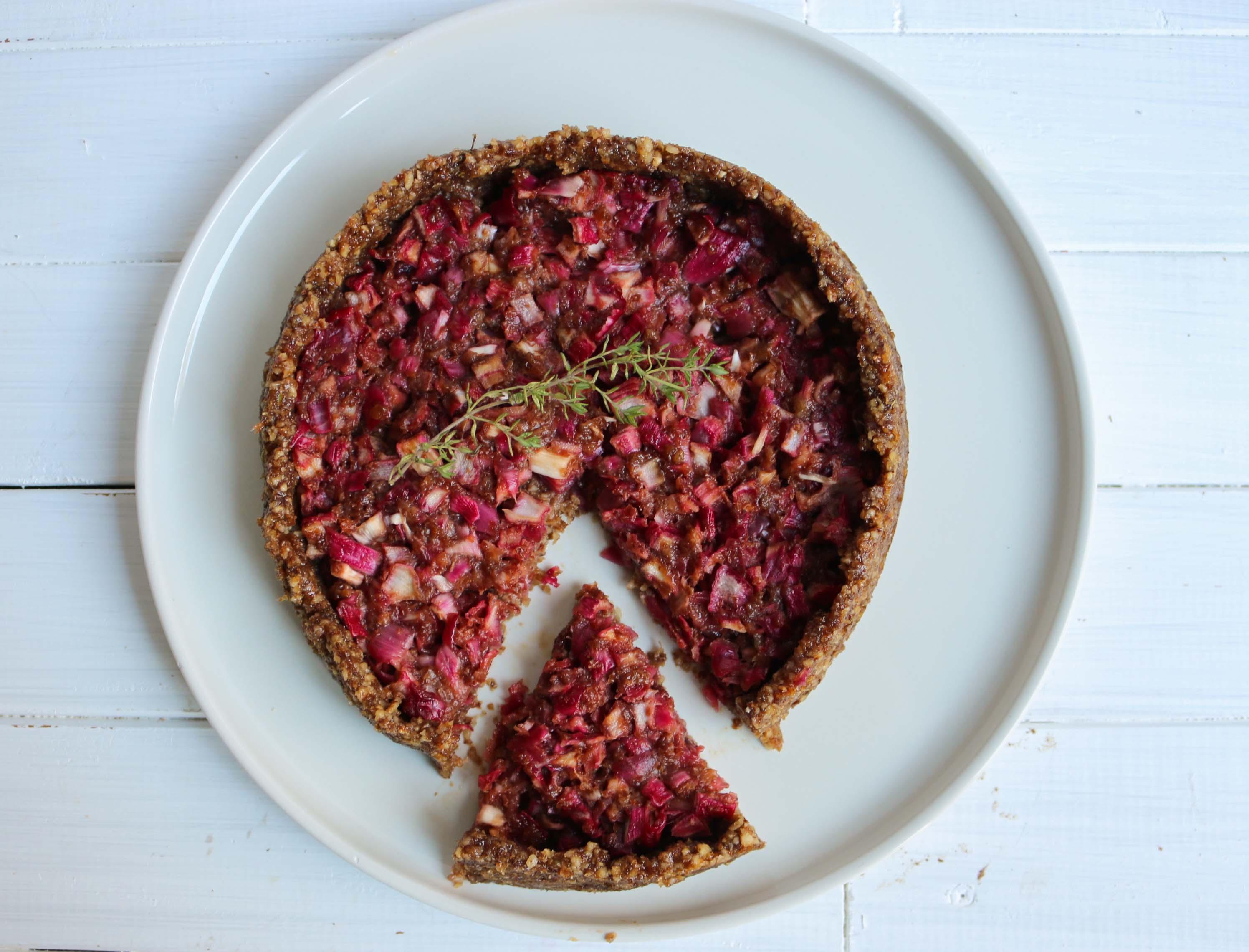 recette tarte aux oignons confits cru, raw, vegan