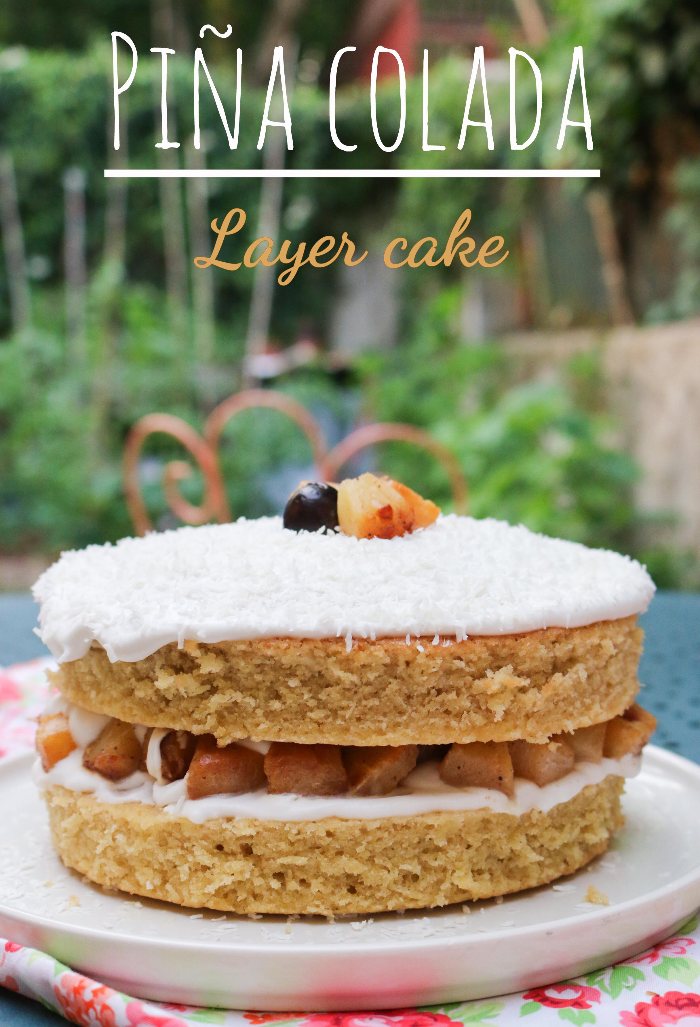recette layer cake pina colada vegan : coco et ananas