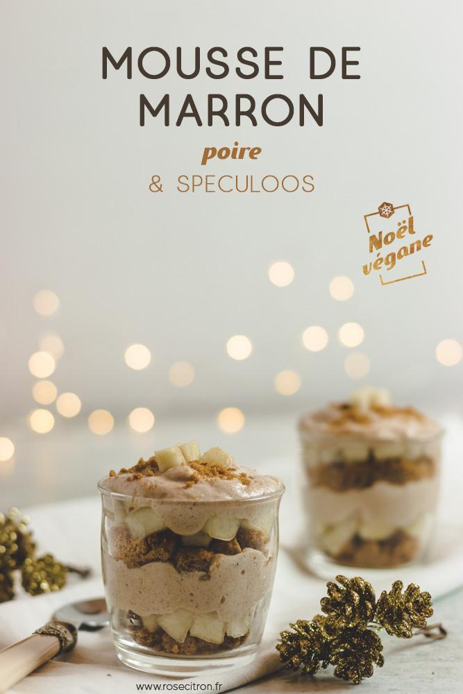 dessert noël mousse creme de marron spéculoos vegan