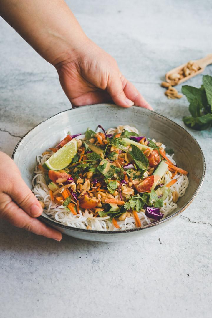 salade thaï rouleaux de printemps vegan