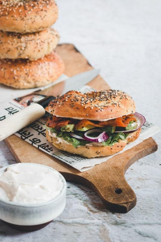 recette bagel vegan fromage frais carotte comme du saumon fumé