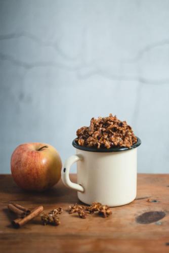 recette pop corn croustillant vegan pomme cannelle-